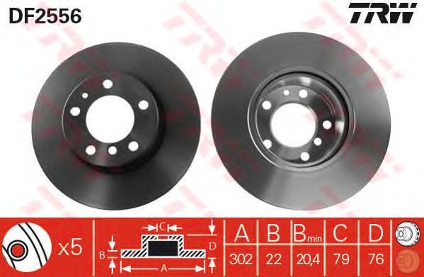 DF2556 Диск тормозной BMW 5 E34 520-530/7 E32 730 передний вент.D=302мм.