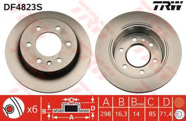 DF4823S Диск тормозной MERCEDES SPRINTER/VW CRAFTER 06- задний D=298мм
