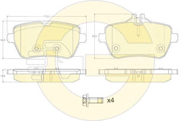 6120141 Колодки тормозные MERCEDES W222 13- задние