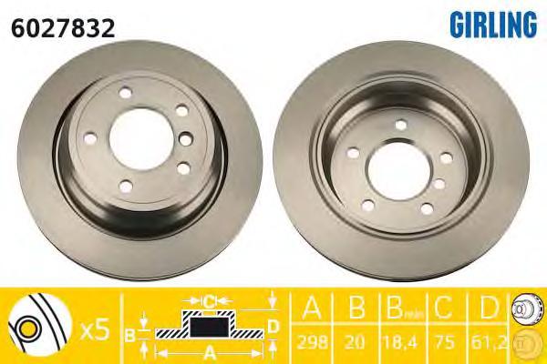 6027832 Диск тормозной BMW 5 E39 520-540 95-04 задний D=298мм.