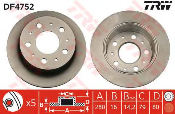 DF4752 Диск тормозной CITROEN JUMPER/FIAT DUCATO/PEUGEOT BOXER 1.7t 06- задний