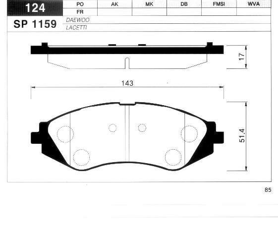 SP1159 Колодки тормозные CHEVROLET LANOS/LACETTI/REZZO/DAEWOO NEXIA/NUBIRA/LEGANZA пер.
