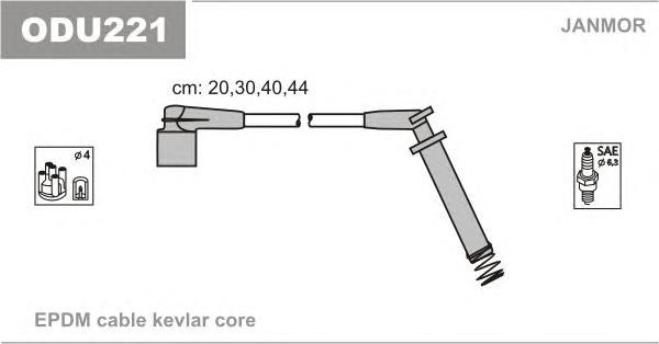 ODU221 Комплект проводов зажигания OPEL: ASTRA F 92-98, ASTRA F VAN 93-96, ASTRA F ХЕЧБЭК 92-98, ASTRA F КАБРИО 93-01, ASTRA F У