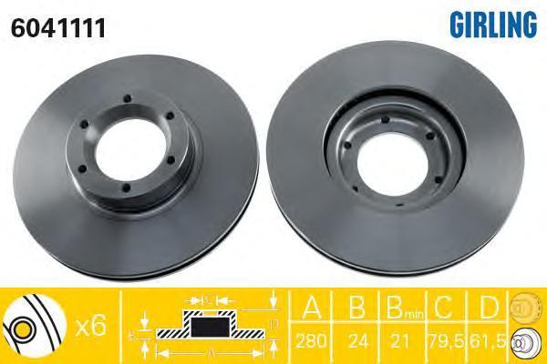6041111 Диск тормозной OPEL MOVANO/PENAULT MASTER 98- передний вент.D=280мм.