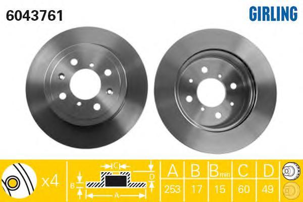6043761 Диск тормозной OPEL AGILA 03-/SUZUKI IGNIS II 03-/WAGON R+ 00- передний вент.