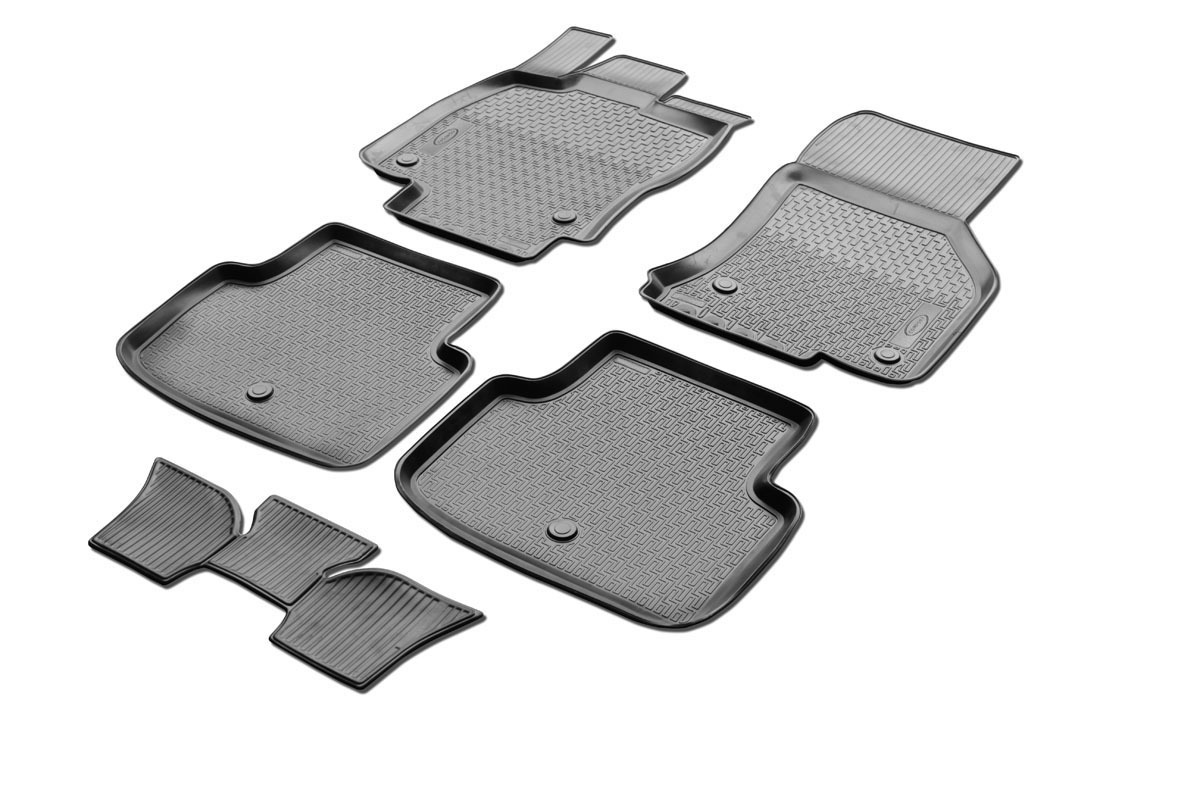 0015101001 Комплект автомобильных ковриков Skoda Octavia A7 2013- , полиуретан, низкий борт, 5 предметов, крепеж для передних ко