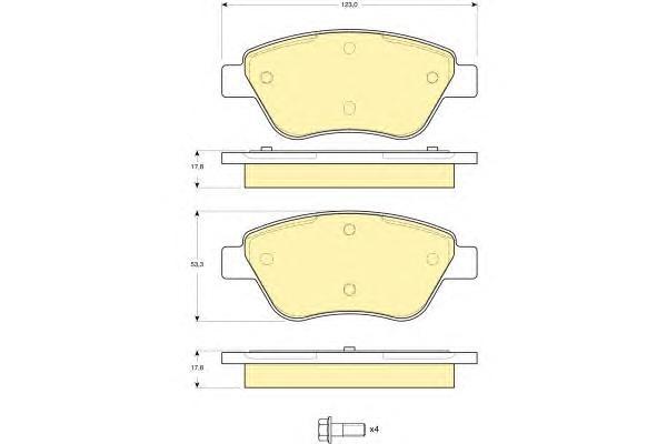 6115794 Колодки тормозные CITROEN NEMO 08-/FIAT DOBLO 01-/PEUGEOT BIPPER 08- перед.б/дат