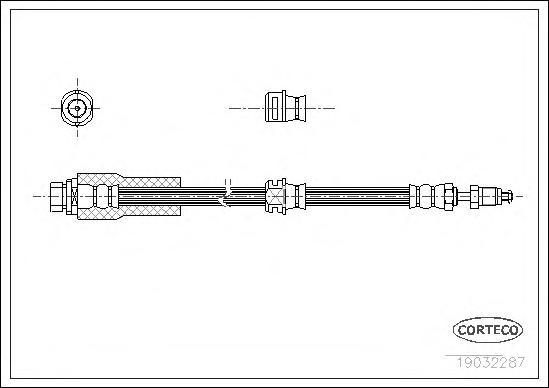 19032287 Тормозной шланг передний 519mm