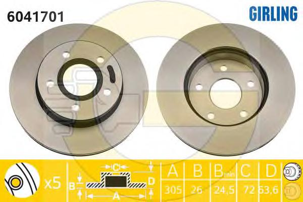 6041701 Диск тормозной JEEP CHEROKEE 91-/GRAND CHEROKEE 99- передний вент.D=305мм.