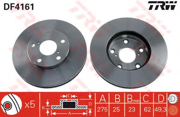 DF4161 Диск тормозной TOYOTA RAV 4 II 1.8/2.0 00-06 передний вент.