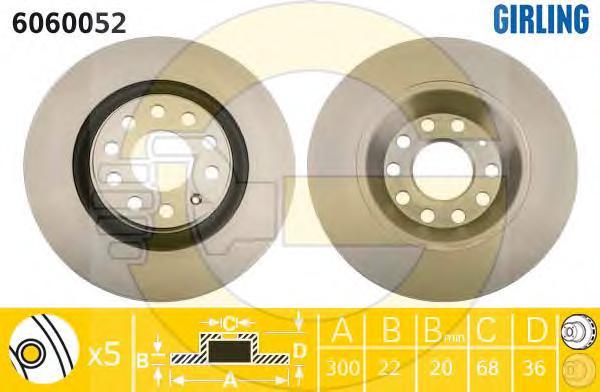 6060052 Диск тормозной AUDI A4 2.0-4.2 03- задний вент.D=300мм.
