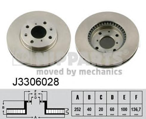 J3306028 Диск тормозной OPEL AGILA 1.0-1.3 07-/SUZUKI SWIFT 1.3-1.5 05- передний вент.