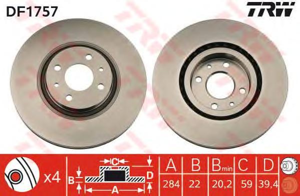 DF1757 Диск тормозной ALFA ROMEO 145/146/155/FIAT COUPE/MULTIPLA передний вент.D=284мм.