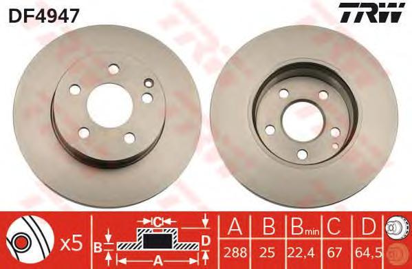 DF4947 Диск тормозной MERCEDES W204 180-200 07- передний