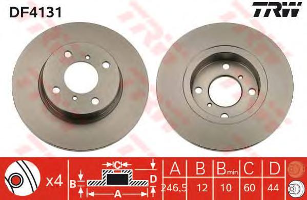 DF4131 Диск тормозной OPEL AGILA 00-/SUZUKI WAGON R+ 00- передний