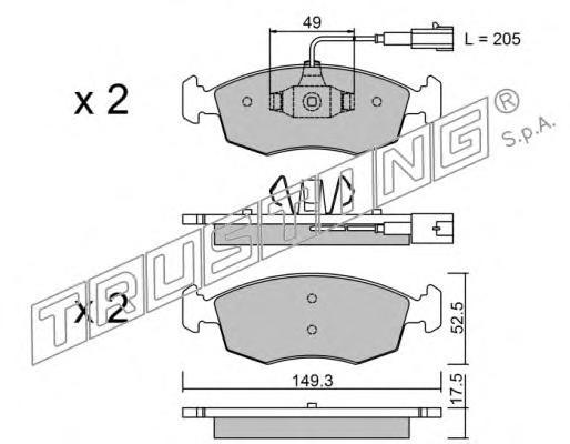2834 К-т торм. колодок Fr FI 500 12-, Punto 09-