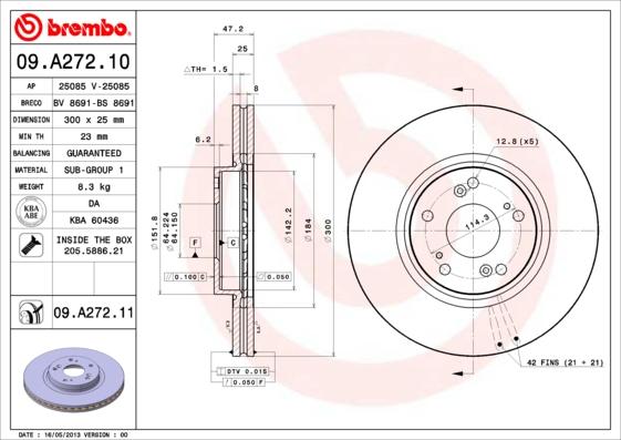 "09A27211 Диск тормозной HONDA CR-V II 16"" 05-06/ACCORD 16"" 03- передний вент. D=300мм."
