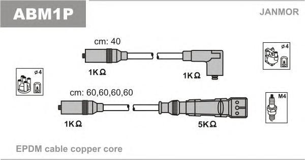 ABM1P Комплект проводов зажигания AUDI: 100 90-94, 100 AVANT 90-94, A6 94-97, A6 AVANT 94-97