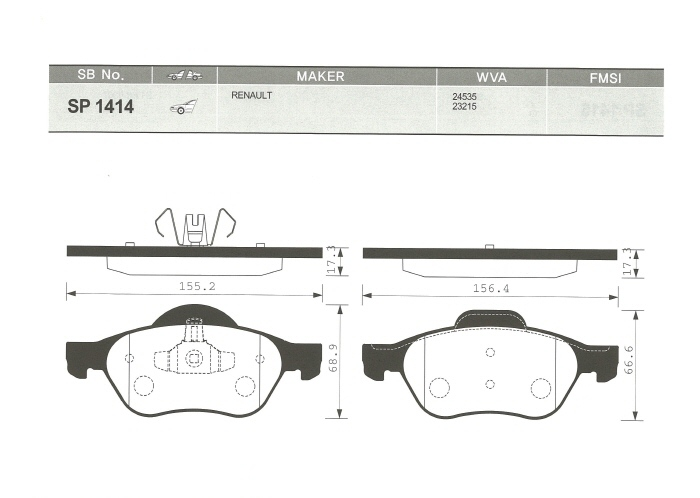 SP1414 Колодки тормозные RENAULT MEGANE II/LAGUNA II/SCENIC II передние