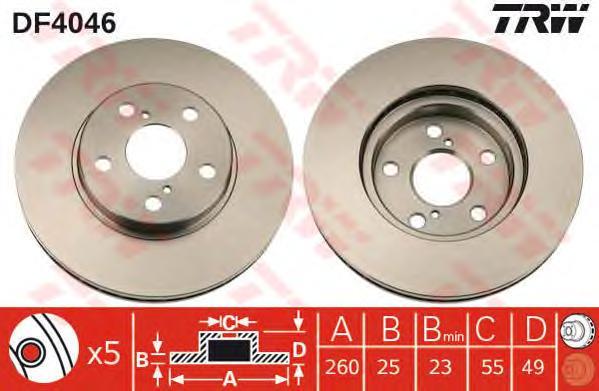 DF4046 Диск тормозной TOYOTA AVENSIS 1.6-2.0 97-03 передний D=260мм.
