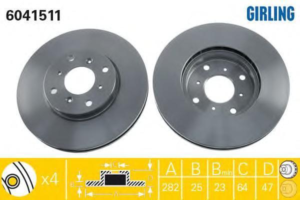 6041511 Диск тормозной HONDA ACCORD 1.8-2.3 98-03 передний