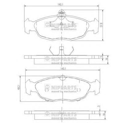 J3600901 Колодки тормозные OPEL ASTRA F/DAEWOO NEXIA/CHEVROLET LANOS 1.4/1.5 97 передние