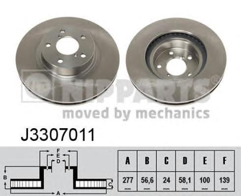 J3307011 Диск тормозной SUBARU FORESTER 97-/IMPREZA 94-/LEGACY 03- передний вент.