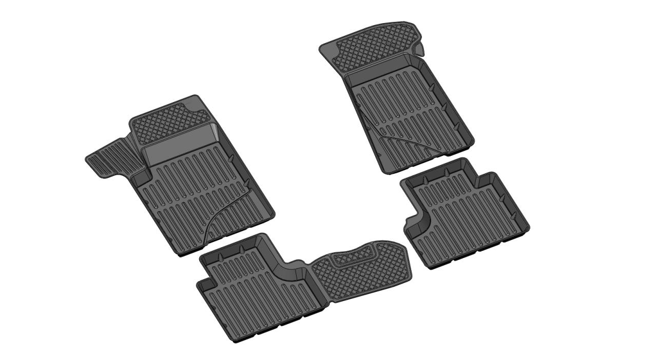 107010011 Комплект автомобильных ковриков Chevrolet Niva 2002-2009/2009-, резина, высокий борт, 4 предмета, перемычка заднего ря