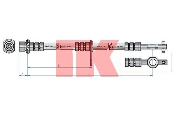 854556 Шланг тормозной TOYOTA AVENSIS 97-03 передний правый