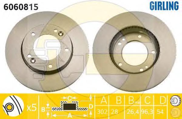 6060815 Диск тормозной KIA SORENTO (JC) 06- передний вент.D=302мм.