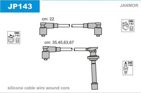 JP143 Комплект проводов зажигания NISSAN: 100 NX 90-94, 200 SX 93-99, PRIMERA 90-96, PRIMERA Break 90-98, PRIMERA Hatchback 90-9