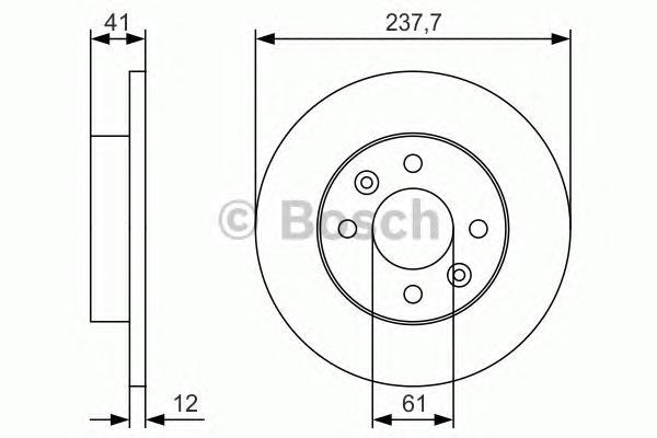 0986479S45 Диск тормозной RENAULT LOGAN/CLIO/MEGANE/SANDERO передний не вент.D=238мм.