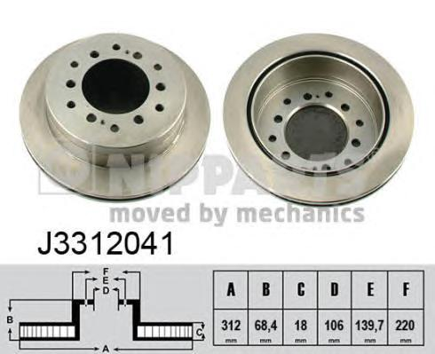 J3312041 Диск тормозной TOYOTA LAND CRUISER 120 05 задний