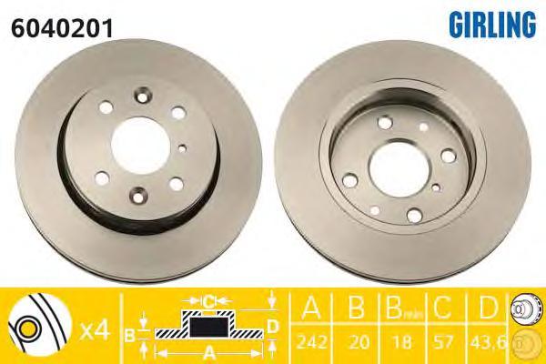 6040201 Диск тормозной KIA SEPHIA 1.5-1.8 95-/SHUMA 1.5-1.8 96-01 передний вент.
