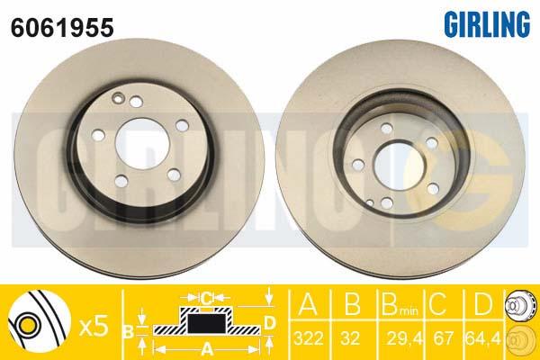 6061955 Диск тормозной MERCEDES W204 07-/W212 09- передний D=322мм.