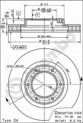 09591410 Диск тормозной TOYOTA LAND CRUISER (J80) 4.2-4.5 90-97 передний вент.D=311мм.