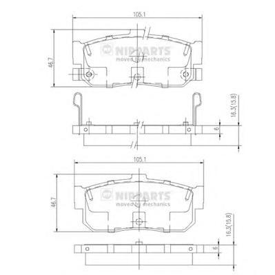 J3611034 Колодки тормозные NISSAN ALMERA 95-/MAXIMA 95-/PRIMERA 90-98/SUNNY 87-95 задние