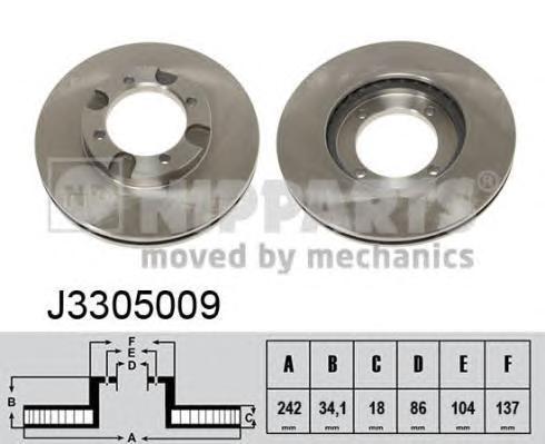 J3305009 Диск тормозной MITSUBISHI COLT 84-88/LANCER 84-93 передний вент.