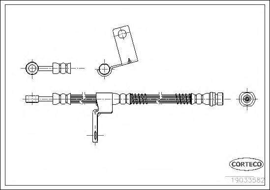 19033582 Шланг тормозной HYUNDAI: GETZ 1.1/1.3/1.3 i/1.4 i/1.5 CRDi/1.5 CRDi GLS/1.5 i/1.6 02-09