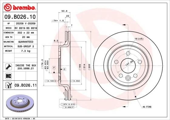 09B02611 Диск тормозной VOLVO XC60 08- задний
