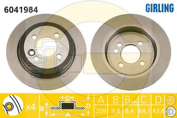 6041984 Диск тормозной MINI COOPER/ONE/CLUBMAN задний D=259мм.
