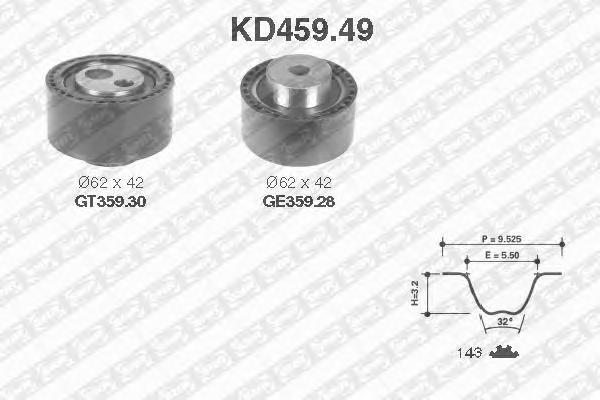 KD45949 Комплект ремня ГРМ PSA