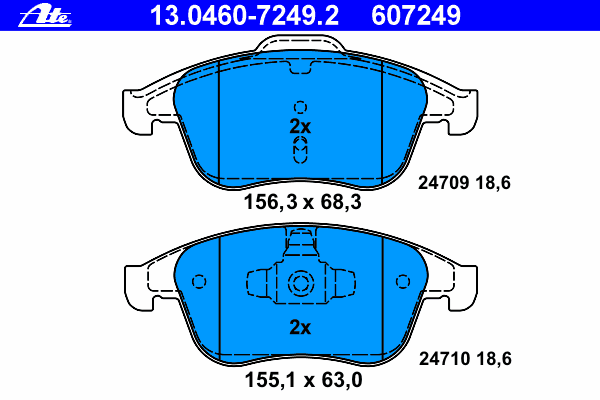 13046072492 Колодки тормозные дисковые передн, RENAULT: GRAND SCENIC III 1.2 TCe/1.2 TCe/1.4 16V/1.5 dCi/1.6 16V/1.6 16V Bifuel/
