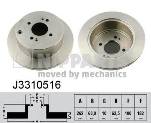 J3310516 Диск тормозной HYUNDAI ACCENT 05-/GETZ 02-/i20 08-/KIA RIO II 05- задний