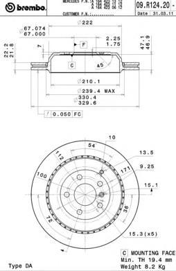 09R12421 Диск тормозной MERCEDES GL X164/ML W164/R W251 280-500 05- задний вент. D=330мм.
