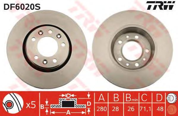 DF6020S Диск тормозной CITROEN JUMPY/FIAT SCUDO/PEUGEOT EXPERT 1.6D 07- передний вент.