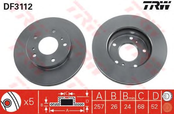 DF3112 Диск тормозной NISSAN SERENA 92-/VANETTE 95- передний вент.D=257мм.