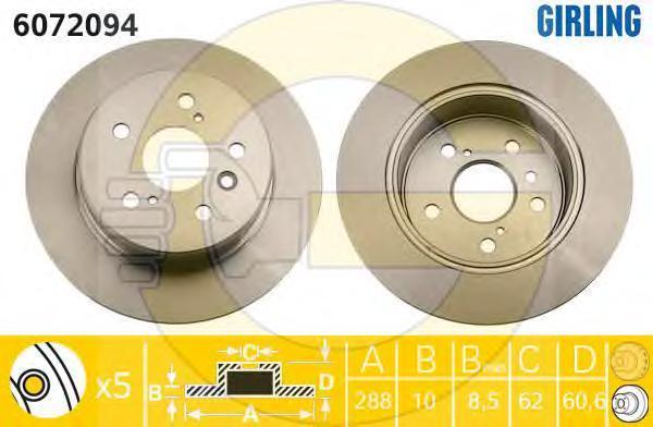 6072094 Диск тормозной LEXUS RX300 V6 00-03 задний