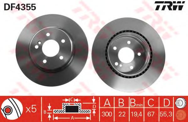 DF4355 Диск тормозной MERCEDES W203/208/209/124/210/140 задний вент.D=300мм.