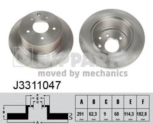 J3311047 Диск тормозной NISSAN JUKE 10-/QASHQAI 07- задний
